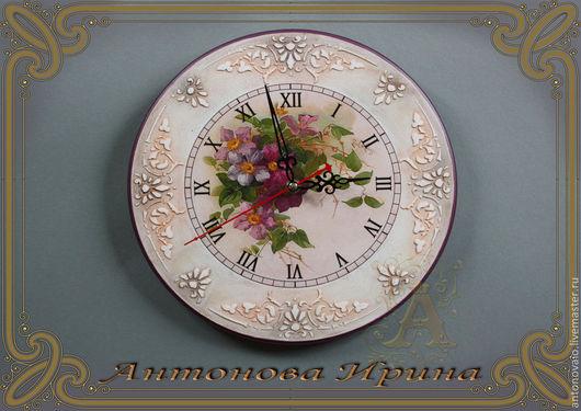 """Часы-""""Легкий цвет"""",для дома ручной работы.Антонова Ирина.Ярмарка Мастеров."""