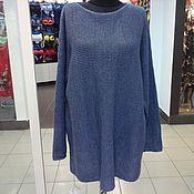 Одежда ручной работы. Ярмарка Мастеров - ручная работа пуловер туника оверсайз цвета джинс. Handmade.