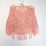 Одежда ручной работы. Ярмарка Мастеров - ручная работа Летнее пончо хлопок вискоза Розовый коралл. Handmade.