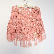 Одежда handmade. Livemaster - original item Summer poncho cotton viscose Pink coral. Handmade.