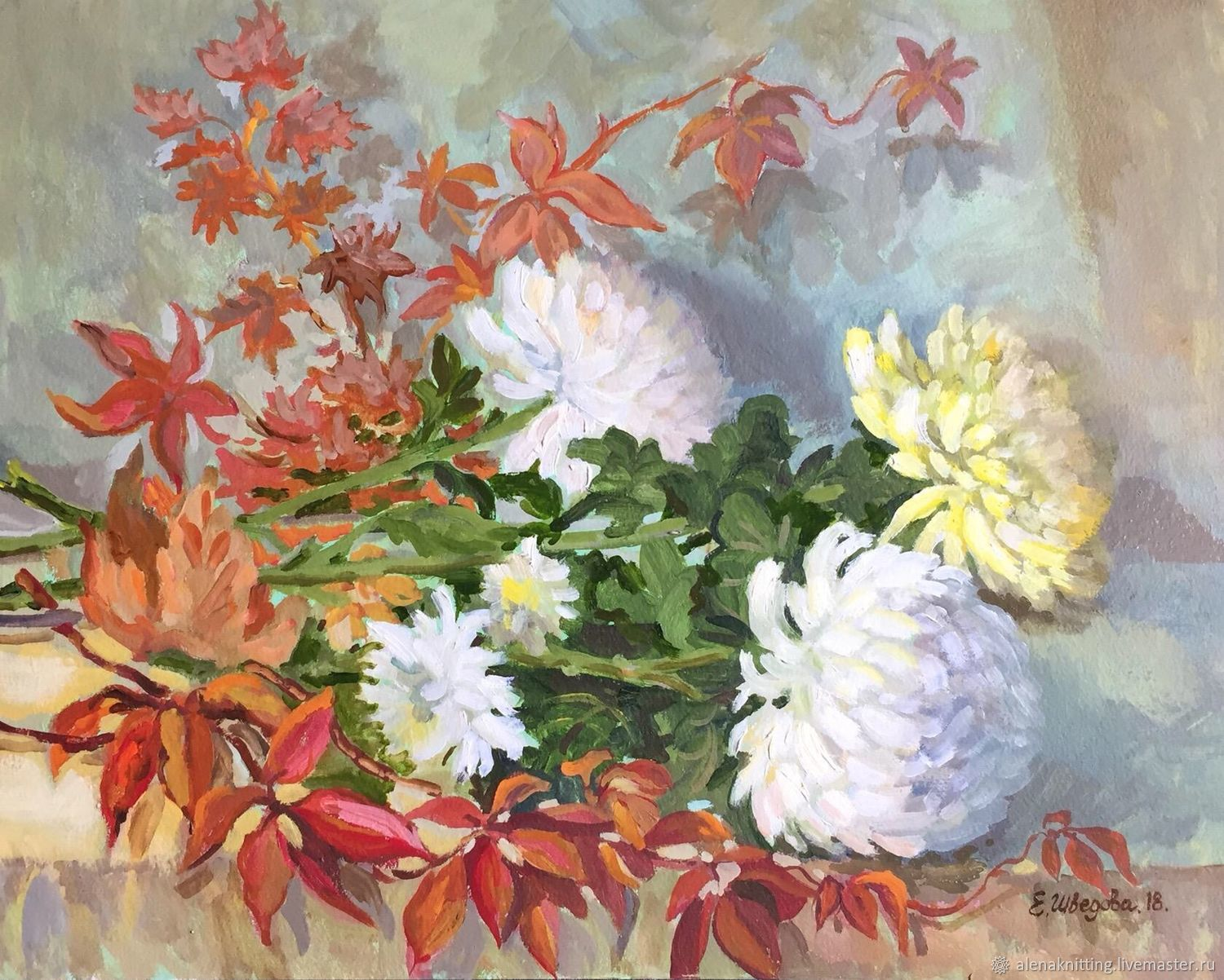 Oil painting 'chrysanthemum of Mystery', Pictures, Moscow,  Фото №1