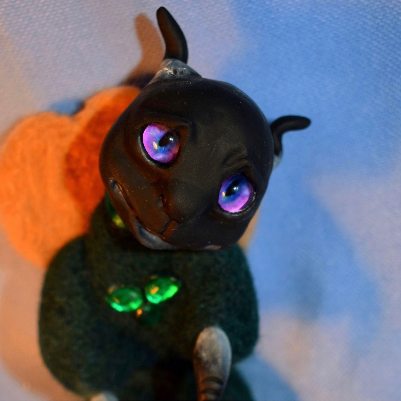 Демонёнок из шерсти и полимерной глины, Войлочная игрушка, Санкт-Петербург,  Фото №1