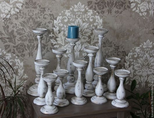 Подсвечники ручной работы. Ярмарка Мастеров - ручная работа. Купить Подсвечники  шебби-шик различных размеров под большую свечу. Handmade.