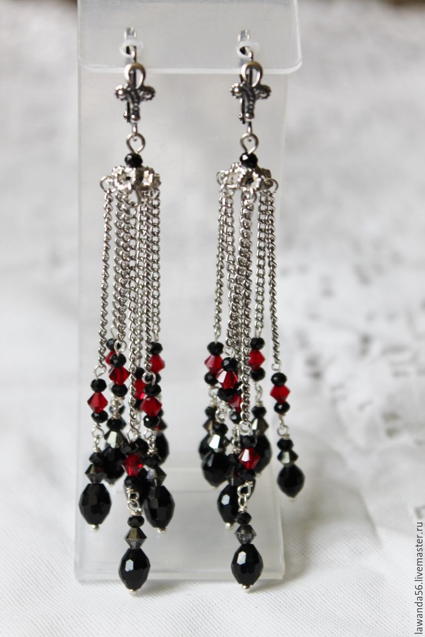 Earrings with chains and crystal beads Carmen, Earrings, Krasnoyarsk,  Фото №1