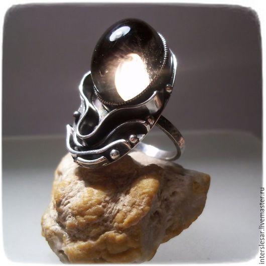 Кольца ручной работы. Ярмарка Мастеров - ручная работа. Купить Раух-топаз кольцо. Handmade. Чёрно-белый, серебряное кольцо