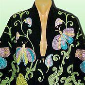 Одежда ручной работы. Ярмарка Мастеров - ручная работа Узбекский вышитый шелком национальный халат, чапан V2509. Handmade.