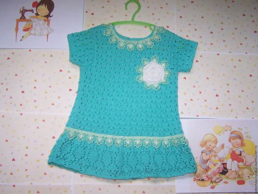 Бирюзовое платье для девочки 2-4 года