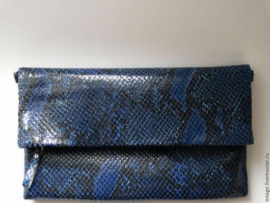"""Женские сумки ручной работы. Ярмарка Мастеров - ручная работа. Купить Кожаный клатч """"Синий"""". Handmade. Синий, клатч купить"""