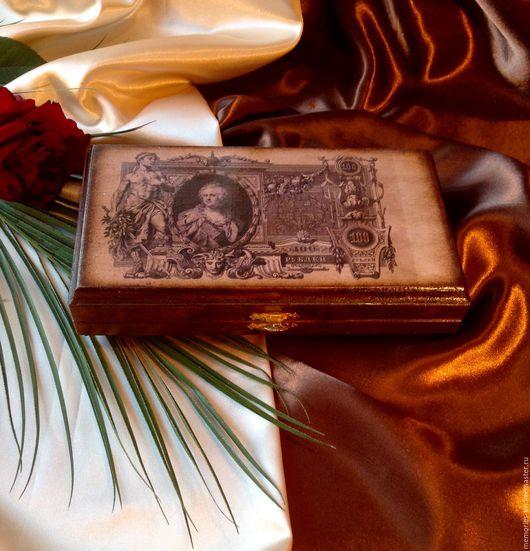 """Шкатулки ручной работы. Ярмарка Мастеров - ручная работа. Купить Ретро - купюрница """"Екатерина"""". Handmade. Бежевый, денежный подарок, денежный"""