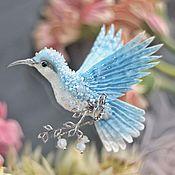 """Украшения ручной работы. Ярмарка Мастеров - ручная работа брошь - птица колибри """"мирное небо"""". Handmade."""