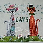 """Картины и панно ручной работы. Ярмарка Мастеров - ручная работа вышивка  """" Он и Она . Коты"""". Handmade."""
