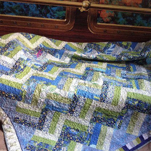 """Текстиль, ковры ручной работы. Ярмарка Мастеров - ручная работа. Купить Лоскутное одеяло""""Бегущая по волнам"""". Handmade. Лоскутное одеяло"""