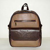 Сумки и аксессуары handmade. Livemaster - original item Backpack leather womens brown beige