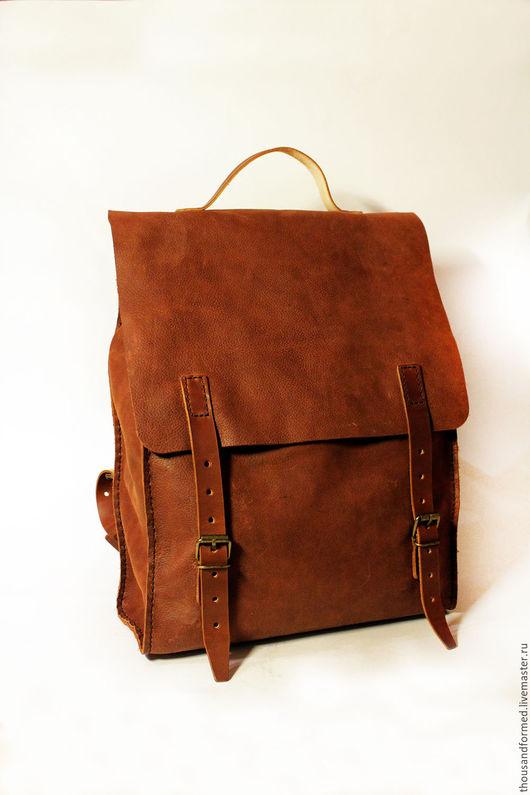 Рюкзаки ручной работы. Ярмарка Мастеров - ручная работа. Купить Городской кожаный рюкзак. Handmade. Коричневый, кожаный рюкзак женский