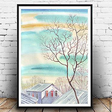 Картины и панно ручной работы. Ярмарка Мастеров - ручная работа Морозный день и столько солнца. Акварель, оригинал в раме. Handmade.