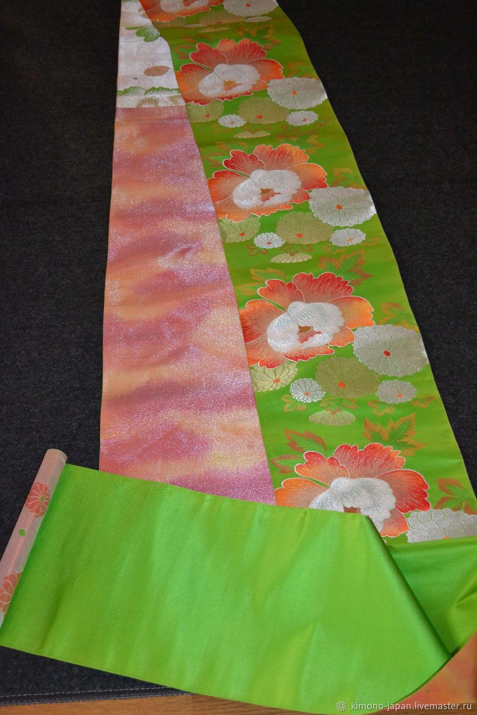 Шелковая японская ткань Пионы и хризантемы, Ткани, Кобе,  Фото №1
