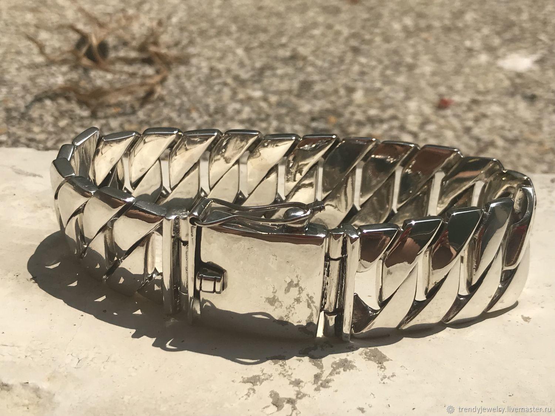 Массивный мужской браслет серебряный из 925 пробы