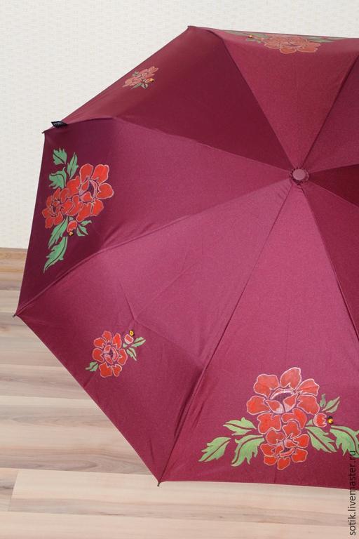 Зонт с ручной росписью `Бургундский Мак` Голландский зонт, полный автомат, система `антиветер`.
