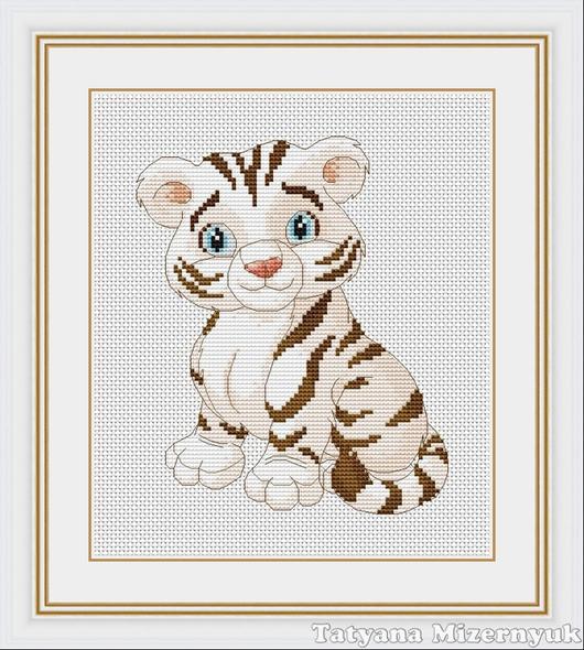 """Вышивка ручной работы. Ярмарка Мастеров - ручная работа. Купить Схема для вышивки крестиком """"Белый тигр"""". Handmade."""