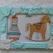 Сувениры и подарки ручной работы. Ярмарка Мастеров - ручная работа Фоторамка детская  Я родился-полимерная глина. Handmade.