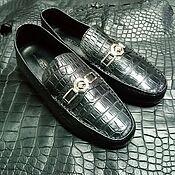 handmade. Livemaster - original item Genuine crocodile leather moccasins, handmade, black color!. Handmade.