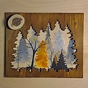 Картины ручной работы. Ярмарка Мастеров - ручная работа Картина «Осенний лес» с элементами дерева. Handmade.