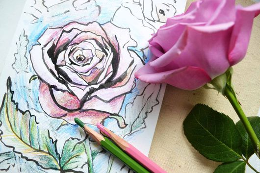 `Нежная роза`, картина, графика (фото)