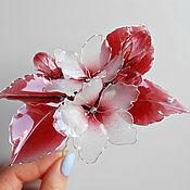 Украшения handmade. Livemaster - original item Pin red cherry blossoms. Handmade.