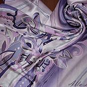 """Аксессуары ручной работы. Ярмарка Мастеров - ручная работа Атласный платок батик """"Аметистовые бабочки"""". Handmade."""