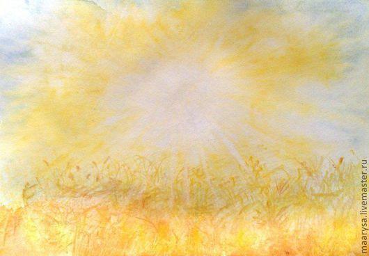 """Пейзаж ручной работы. Ярмарка Мастеров - ручная работа. Купить """"Летний зной"""" акварельная работа. Handmade. Желтый, зной, акварель"""