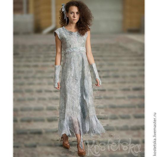 """Платья ручной работы. Ярмарка Мастеров - ручная работа. Купить Валяное авторское платье """"Легкий ветер"""" Серый, серебристый. эко одежда. Handmade."""