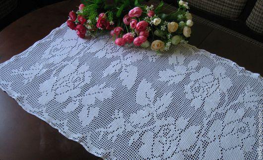 Текстиль, ковры ручной работы. Ярмарка Мастеров - ручная работа. Купить Салфетка крючком прямоугольная салфетка-дорожка филейная  Белые розы. Handmade.
