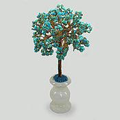 Цветы и флористика ручной работы. Ярмарка Мастеров - ручная работа Сказочное дерево из бирюзы в вазочке из оникса. Handmade.