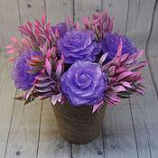 Косметика ручной работы handmade. Livemaster - original item A small soapy bouquet with amethyst roses. Handmade.
