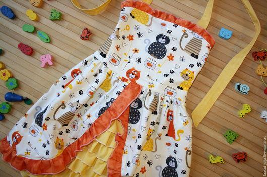Одежда для девочек, ручной работы. Ярмарка Мастеров - ручная работа. Купить Мурррчащее платье сарафан для девочки. Handmade. Рыжий