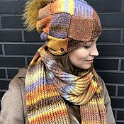 Аксессуары handmade. Livemaster - original item Hat and scarf color autumn. Handmade.