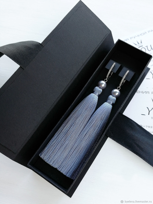 Earrings brush gray-blue color with pearl Swarovski, Tassel earrings, Novosibirsk,  Фото №1