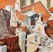 Картины и панно ручной работы. Ярмарка Мастеров - ручная работа картина акрилом Крыши старой Риги (оранжевый, белый, кирпичный). Handmade.