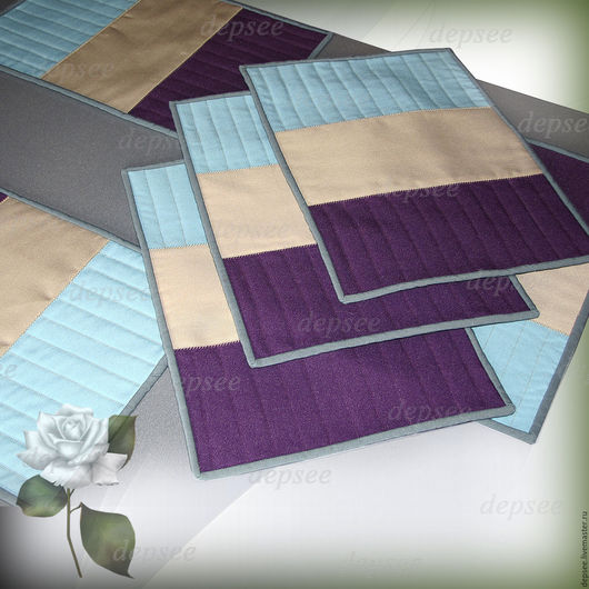 Текстиль, ковры ручной работы. Ярмарка Мастеров - ручная работа. Купить Трехцветные Салфетки (Сеты). Handmade. Комбинированный, кухонный дизайн