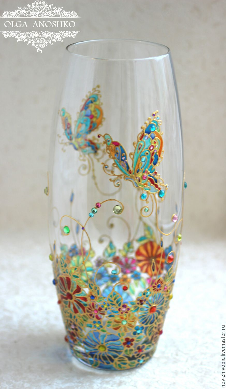 Vase flying butterfly stained glass painting shop for Decoration glass