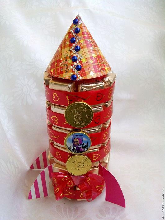 Персональные подарки ручной работы. Ярмарка Мастеров - ручная работа. Купить Космическая сладкая Ракета!!!. Handmade. Комбинированный, конфетный букет