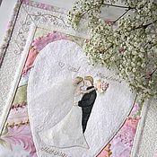 Свадебный салон ручной работы. Ярмарка Мастеров - ручная работа Свадебная лоскутная открытка. Handmade.
