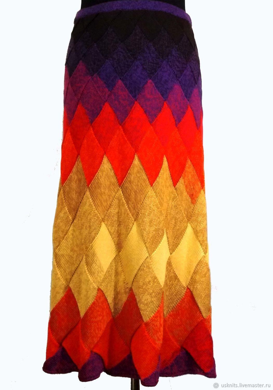 Длинная вязаная юбка  с поясом на резинке размера плюс, Юбки, Королев,  Фото №1