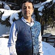 """Одежда handmade. Livemaster - original item Валяный мужской жилет """"Синий"""". Handmade."""