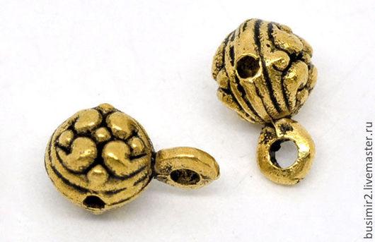Бейл, держатель для кулона или подвески, цвет - золото. Фурнитура для создания украшений. Busimir