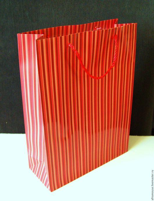 Пакет `Красный полосатый ` 40х30х12 см
