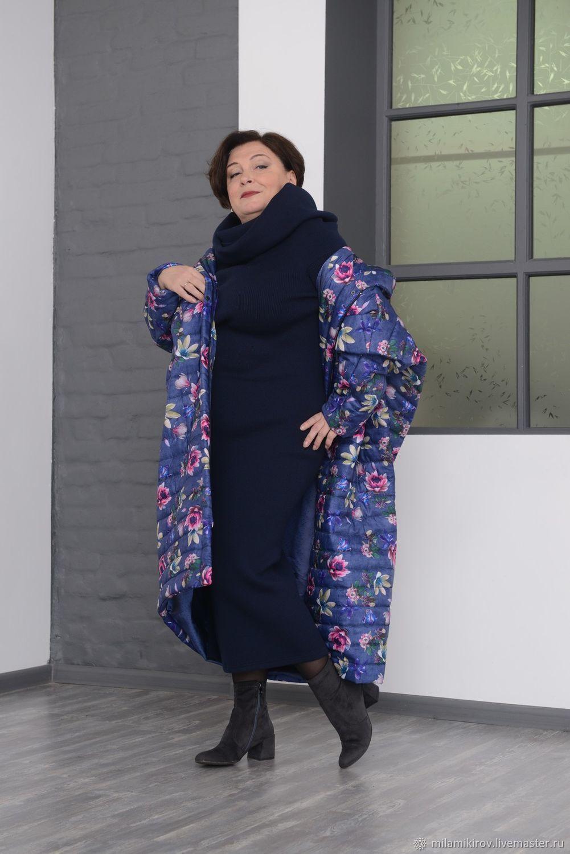 f85d9f7693e Пальто большой ромб с капюшоном стеганое цветное Арт. 2805. Большие размеры  ручной работы. Ярмарка Мастеров - ручная работа. Купить ...