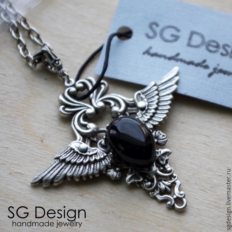 Pendant silver 'Margarita' Black onyx, Wings, Pendants, Yalta,  Фото №1