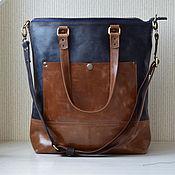 Кожаная сумка шоппер большая. Рыжий, темно-синий цвет