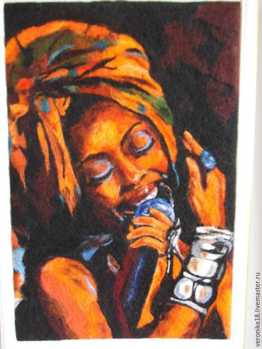 """Люди, ручной работы. Ярмарка Мастеров - ручная работа. Купить Картина из шерсти """"ДЖАЗ"""". Handmade. Рыжий, валяная картина, джаз"""